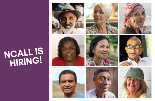 Collage of nine older adults. Text reads: NCALL is Hiring!