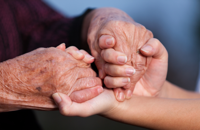 A pair of younger adult's hands supporting a pair of older adult's hands.