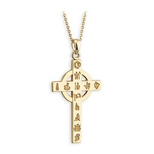 History of Ireland 14K Gold Cross Pendant s4663