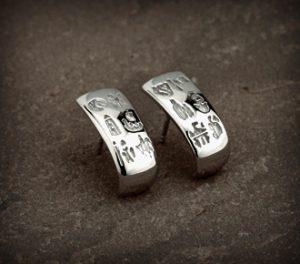 History of Ireland Sterling Silver Hoop Style Earrings