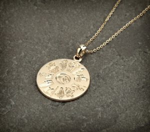 History Of Ireland 14 Carat Gold Disc Pendant