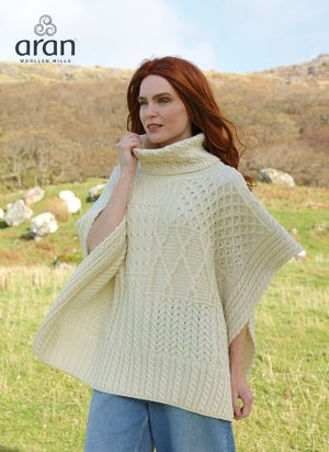 Natural Merino Wool Aran Poncho Cape A453