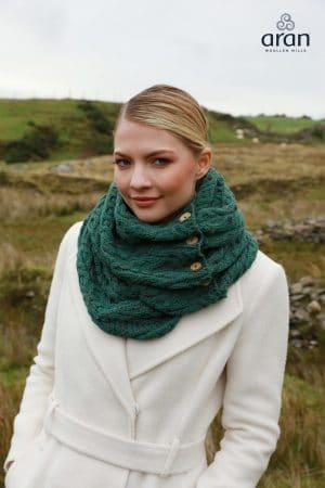 Aran Irish Merino Wool Snood Scarf with Buttons
