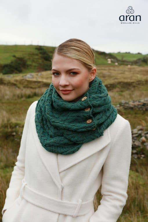 Aran Irish Merino Wool Snood Scarf with Buttons