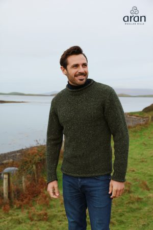 Green Fisherman Aran Sweater