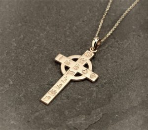 History of Ireland 14K Gold Cross Pendant