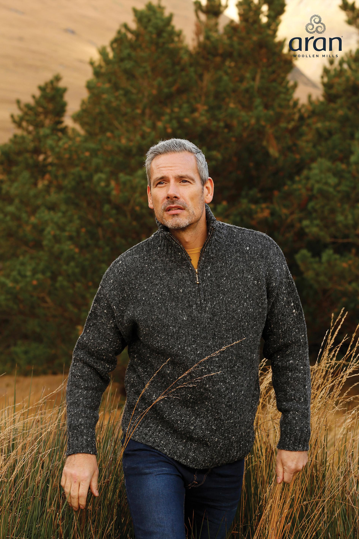 Mens Half Zip Irish Wool Sweater Skellig Gift Store Waterville