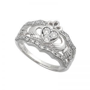 Solvar 14k White Gold Diamond Claddagh Band S21024