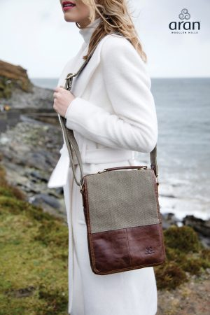 Irish Tweed Leather Bag by Aran Woollen Mills