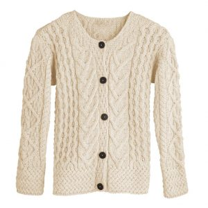 Aran Irish Cardigan Merino Wool a968 162