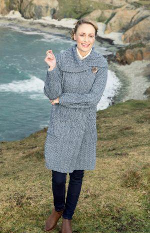 Ladies Long Irish Denim Aran Cardigan