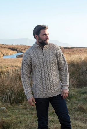 Aran Brown Half Zip Sweater