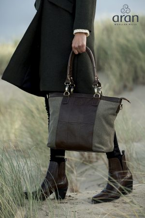 Large Tweed Leather Traditional Shopper Bag