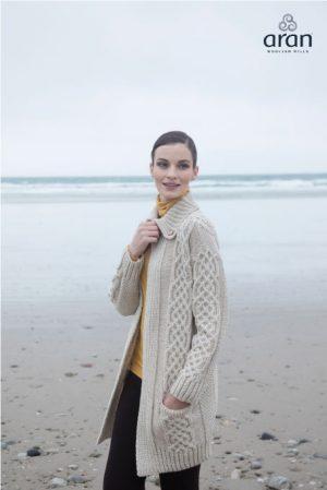 Women's Plaited Aran Coat Cardigan