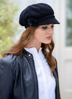 Ladies Black Newsboy Hat Mucros Weavers