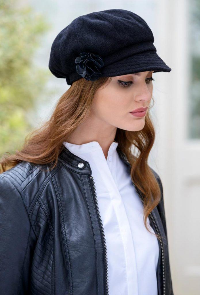 3283b65905eb94 Ladies Black Newsboy Hat by Mucros - Skellig Gift Store