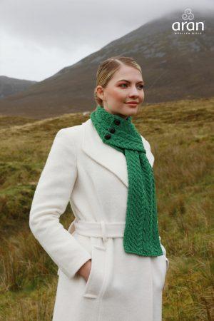 Aran Green Loop Scarf Merino Wool