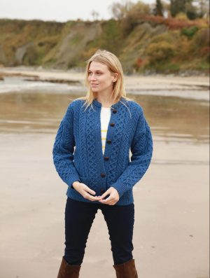 Blue Aran Stitch Irish Cardigan