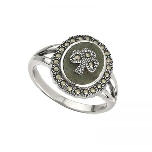 'Shamrock Ring-Sterling Silver,Marcasite, & Connemara Marble s2824