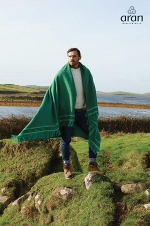 Aran Woollen Mills Green Crios Heavy Blanket