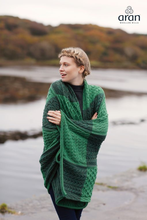 Aran Plaited Patchwork Merino Wool Irish Green Blanket