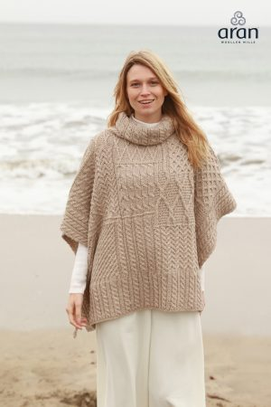 Brown Patchwork Aran Cowl Irish Cape Poncho