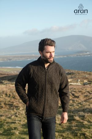 Charcoal Silver Aran Fleece Jacket