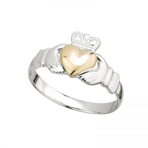 '1' Solvar Silver & Gold Heart Claddagh Ring s21046