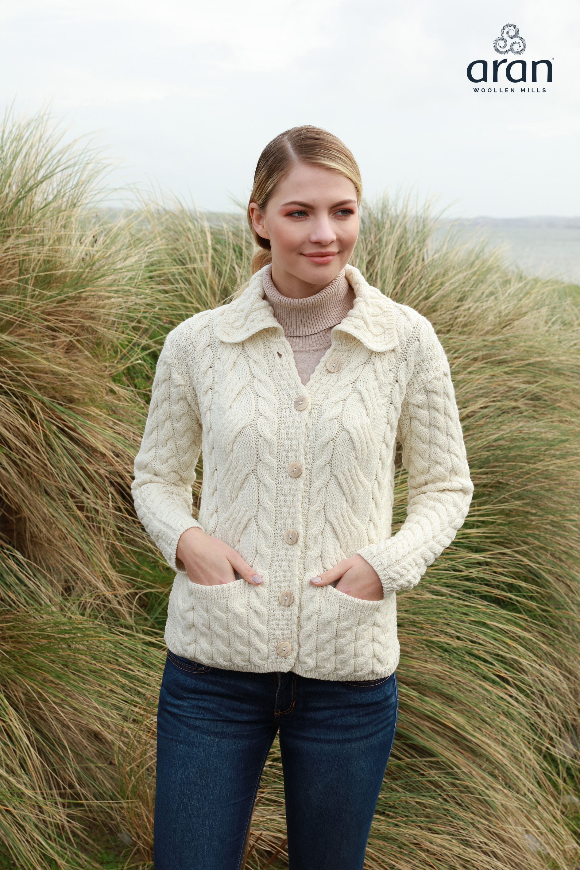 Merino Wool Super Soft Ladies Button Cable Cardigan b940 367 f23810dac