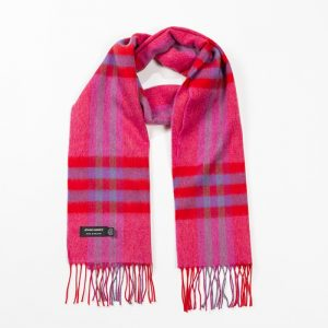 John Hanly Pink Red Purple Check Scarf