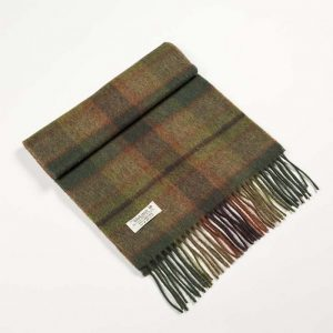 John Hanly Lambswool Moss Green Scarf
