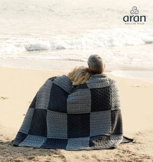 Aran Patchwork Merino Wool Blue Blanket