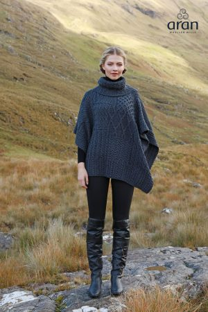 Irish Aran Cape Poncho Charcoal