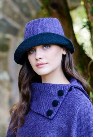 Women's Purple Clodagh Mucros Tweed Hat
