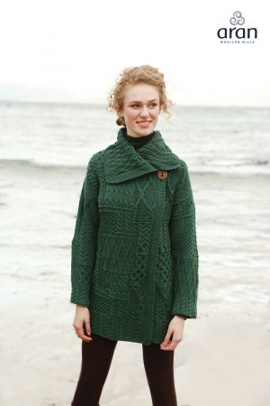 Ladies Green Aran Patchwork Coat