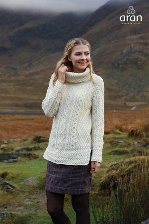 Cowl Neck Natural Aran Sweater