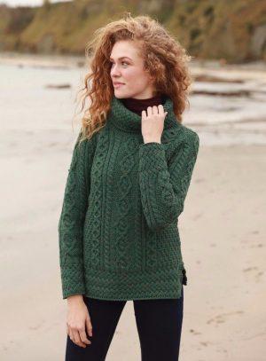 Aran Ladies Green Vented Roll Neck Irish Sweater