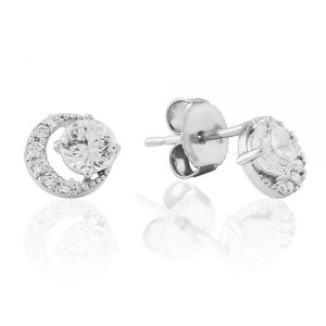 Waterford Crystal Silver Open Circle Stud Earrings WE223