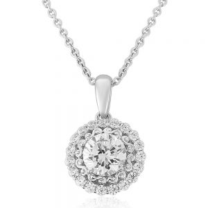Waterford Crystal Sterling Silver White Cluster Circle Necklace