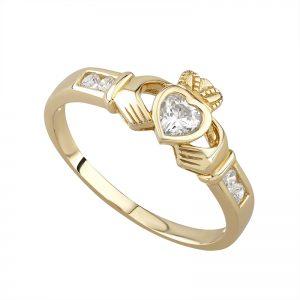 9k Gold Crystal Claddagh Ring s2368 by Solvar