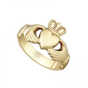 Ladies 9k Yellow Gold Heavy Claddagh Ring by Solvar s2267