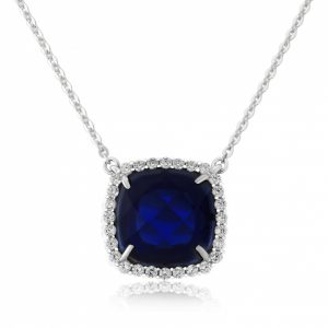 Waterford Crystal Sterling Silver Sapphire Pendant WP131