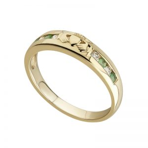 Solvar Gold Diamond Emerald Claddagh Ring s2374