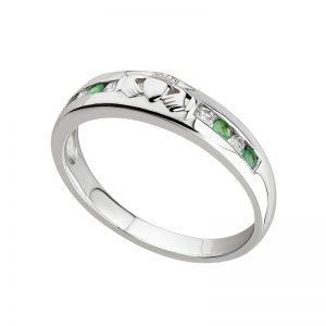 Solvar 14K White Gold Diamond & Emerald Claddagh Eternity Ring S2620