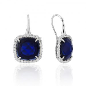 Waterford Crystal Sterling Silver Sapphire Earrings