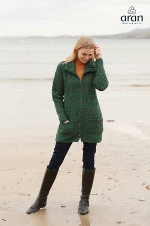 Ladies Aran Green Long Cardigan Merino Wool