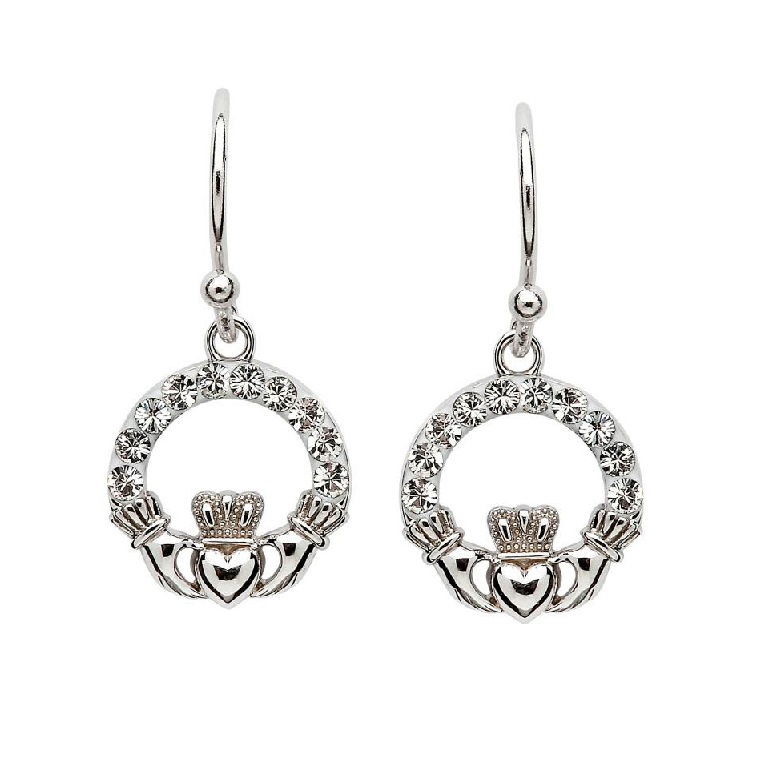 6bf2dba9d Swarovski Crystal Sterling Silver Dangle Claddagh Earrings sw48 - Skellig  Gift Store