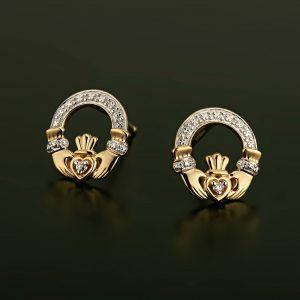 Solvar 14k Gold Diamond Celtic Claddagh Stud Earrings