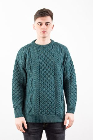 Green Aran Wool Sweater