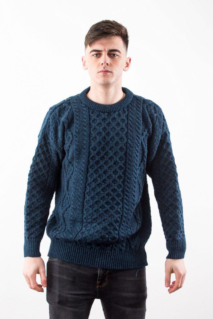 Blackwatch Irish Wool Aran Sweater by West End Knitwear ...